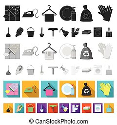 Cleaning and maid flat icons in set collection for design....
