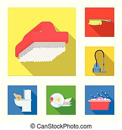 Cleaning and maid flat icons in set collection for design. Equipment for cleaning vector symbol stock web