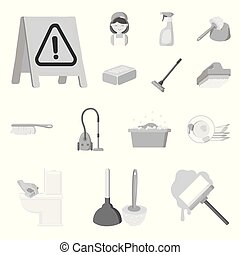Cleaning and maid monochrome icons in set collection for...