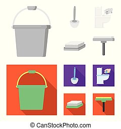 Cleaning and maid monochrome,flat icons in set collection...
