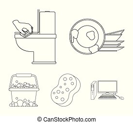 Cleaning and maid outline icons in set collection for...