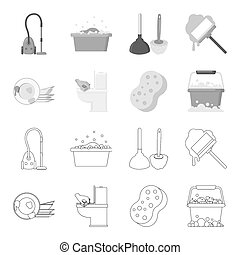 Cleaning and maid outline,monochrome icons in set collection...