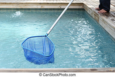 Cleaning and maintenance swimming pool with net skimmer