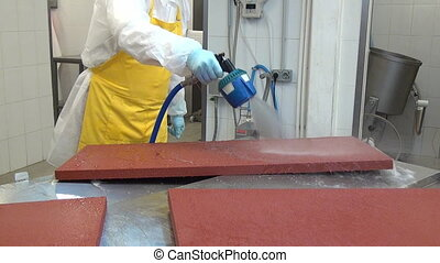Cleaning and washing of industrial equipment in factory. -...