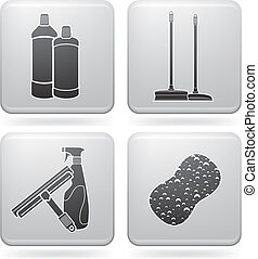 Cleaning theme icons set, this series covering stuff from brush and chemicals to gloves and paper towel. (part of Platinum Square 2D Icons Set)