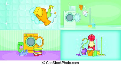 Cleaning banner set horizontal, cartoon style