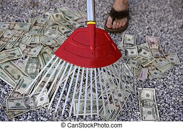Cleaning black dolar money with rake, metaphor of abundance