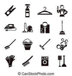 Cleaning Black Icon Set