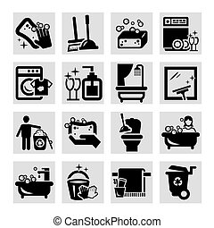 cleaning black icons - Elegant Vector Black Cleaning Icons ...
