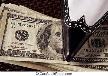 Cleaning black money dollar metaphor, woman shoe
