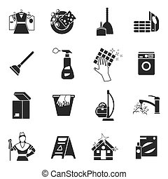 Cleaning Black White Icons Set