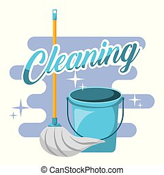 cleaning blue bucket and mop tools