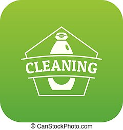 Cleaning bottle icon green vector
