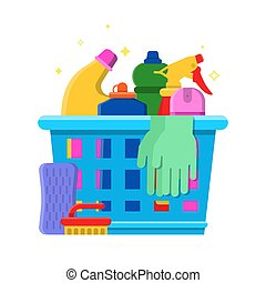 Cleaning bottles basket. Detergent laundry service chemical items freshener tools vector flat picture