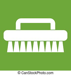 Cleaning brush icon green - Cleaning brush icon white...