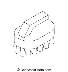 Cleaning brush icon, isometric 3d style