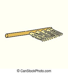 Cleaning brush or archaeological broom sketch style, vector...