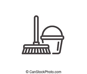 Cleaning bucket with mop line icon.