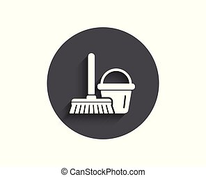 Cleaning bucket with mop simple icon.