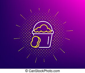 Cleaning bucket with sponge line icon. Vector
