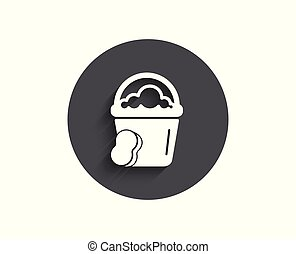 Cleaning bucket with sponge simple icon.