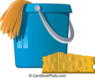 Cleaning: buckets, rubber gloves and sponge. Vector illustration isolated on white. EPS 8, AI, JPEG