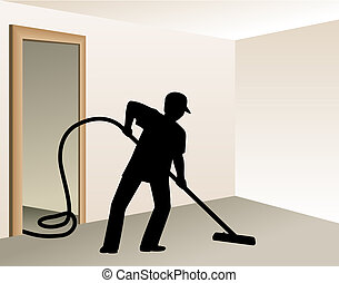 Cleaning Buziness 2 - Worker vacuuming. Digital illustration...