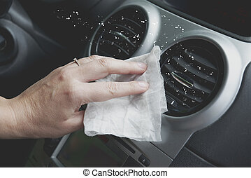 Cleaning car interior with cloth