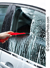 Cleaning car on a car wash