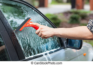 Cleaning car window