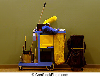 cleaning supplies and service cart