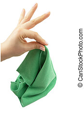green microfiber cloth with female hand