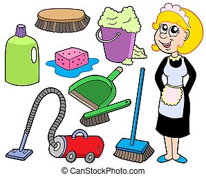 Cleaning collection 1 - isolated illustration.