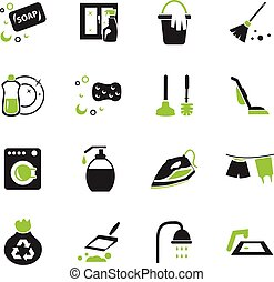 Cleaning company icons set