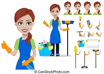 Cleaning company staff in uniform. Woman cartoon character cleaner, set. Pack of body parts, emotions and equipment. Vector illustration.