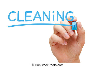 Cleaning Concept - Hand writing Cleaning with blue marker on...