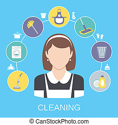 Cleaning Concept - Cleaning household service maid icons...