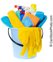 Cleaning concept - Plastic bucket with cleaning supplies on ...