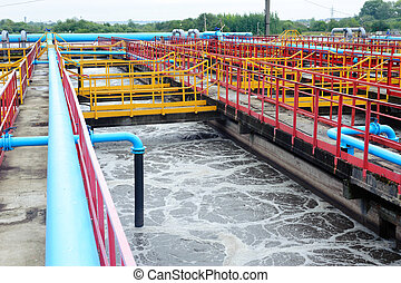 Cleaning construction for a sewage treatment - Water...