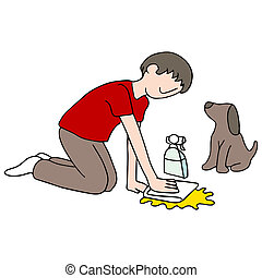 Cleaning Dog Mess - An image of a man cleaning his dog's ...