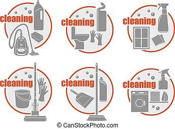 cleaning., ensemble, vecteur, illustration, icône