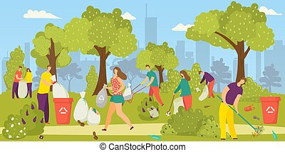 Cleaning environment, team of volunteers picking up garbage, litter in park into trash bags, vector illustration. Social volunteering for nature.