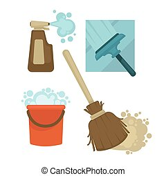 Cleaning equipment and chemical means isolated illustrations set