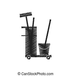 cleaning equipment broom bucket hand car