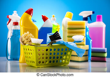 Group of assorted cleaning