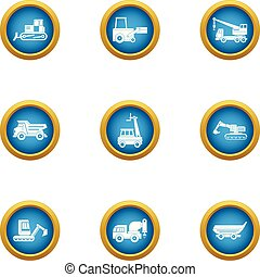 Cleaning equipment icons set, flat style