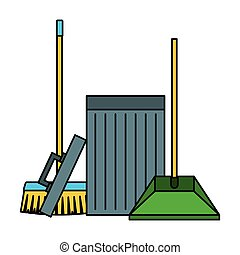 dustpan trash can broom cleaning equipment vector illustration
