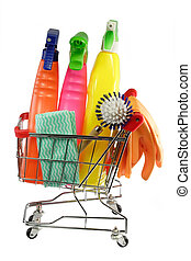 Cleaning equipment in a modell shopping trolley on white...