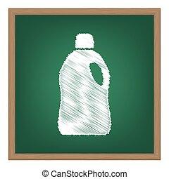 cleaning., escola, efeito, plástico, giz, verde, garrafa, board., branca