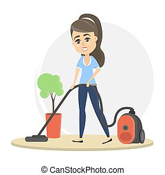cleaning., femme, vide